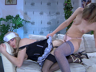 Crossdressed maid brings her mistress a ding-dong on a tray for hawt sissy sex