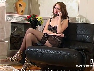 Raunchy lesbian chick seducing cutie in wild strap-on booty-banging on floor