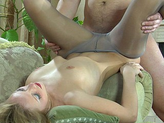 Blond doll gets her petticoat hiked nearby exposing her fuckable pantyhosed slit