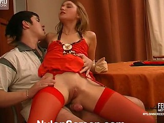 Irresistibly seductive hottie in red plain top nylons born for rod-riding