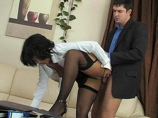 Exotic secretary in black back seam stockings getting pounded by her lusty boss