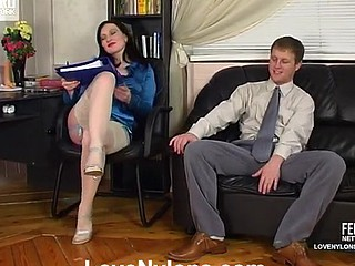 White-stockinged brunette whisker turned vibrator toying at work getting humped hard