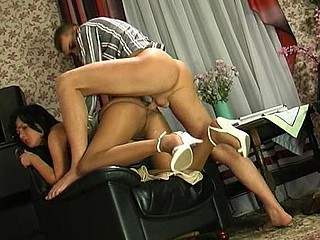 Bizarre mature chick in lacy hose making widen-eagle for wild fucking