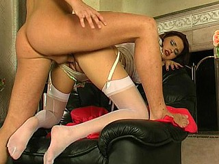Angel in white nylons getting the nearly all from oral foreplay in advance of fucking