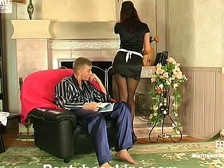 Sultry French maid in slight sheen tights having time to service subrigid rod