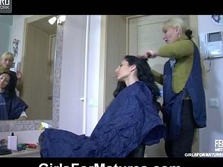 Aged hairdresser licks a juvenile hotty