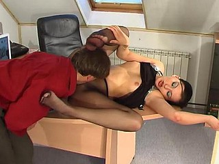 Laura&Morris in flames sexy nylon footsex