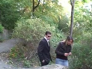 Outdoor sex scene with a golden-haired