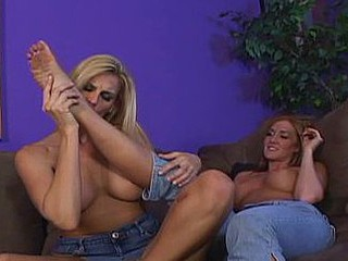 Lesbo girlfriends get off on rubbing their feet along their hawt bodies