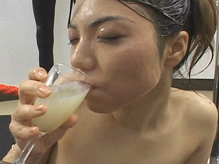 Erika Ando receives cum all over her face and body  collects cum in a glass and drinks it after.