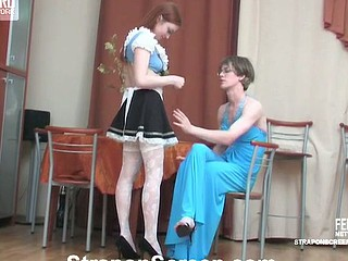 Spicy French maid stuffing her strap-on in sissy guy