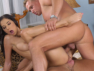 Lara Stevens is filled up to the breaking point as two dicks pound her deep and long!