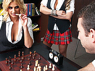 Chess club is getting really intense this day 'coz current champion Jordan Ash is playing Brooklyn Bailey and this chab is down a couple bishops in the early stages of the game. To make things worse Brooklyn distracts Jordan with her mangos and removes one of his pieces from the board. Enraged with the situation Jordan begins making out with Brooklyn for what that honey has done.
