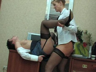 Older chick and her female co-worker getting down and immodest at breakfast break