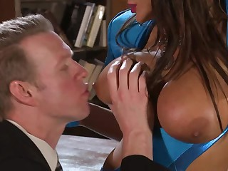Busty brunette hair Lisa Annin blue gloves makes man happy