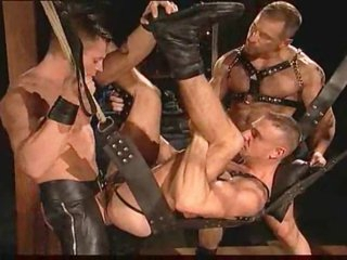 Gay leather guys having intense sex