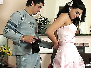 Breathtaking bride in white nylons getting gangbanged in advance of wedding ceremony