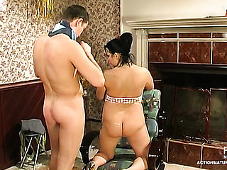 Lewd aged gal undressing and playing hawt fucking games with blindfold guy