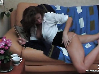 Sleepy mature chick getting banged from all around by filthy younger guy