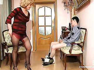 Salacious aged chick treating policeman like her sex toy for oral games