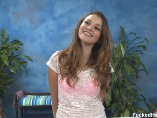 Allie H with beautiful smile disrobes for massage