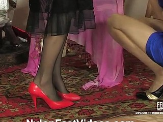 Freaky lesbo chicks shoe-sniffing in advance of giving nylon feet great workout