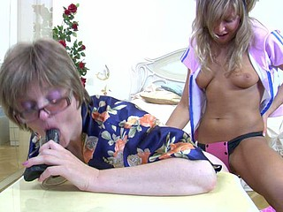 Experienced mommy choosing a fake penis for wild intercourse with steamy girlie