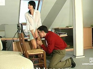 Hawt sec in barely visible stockings tempting her boss to take a penis break