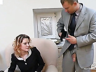 Steamy secretary giving wang a priceless tug engulfing on it throughout darksome tights