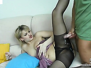 Drinking some wine provokes to hose fucking of nylon-addicted pair