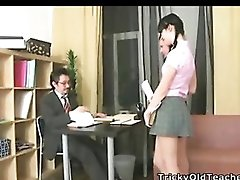 Sexy ladies fuck their old teacher.