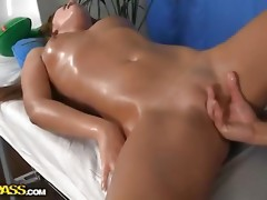 Sexy chick receives in nature's garb massage with sex